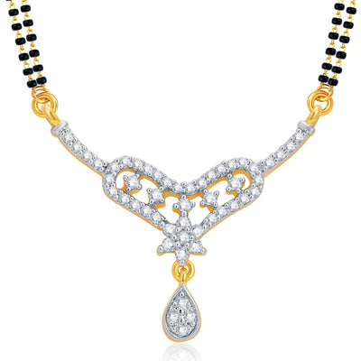 Pissara Fancy Gold and Rhodium Plated CZ Mangalsutra Set For Women-1