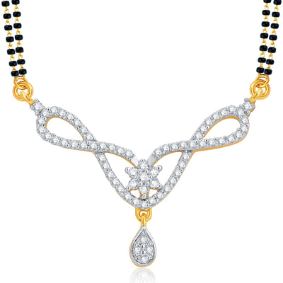 Pissara Alluring Gold and Rhodium Plated CZ Mangalsutra Set For Women-1