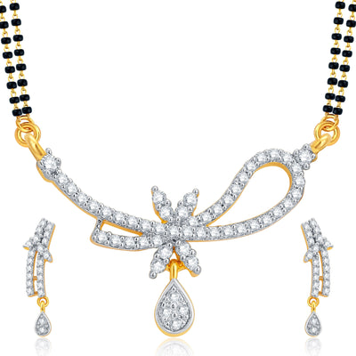 Pissara Marquise Gold and Rhodium Plated CZ Mangalsutra Set For Women