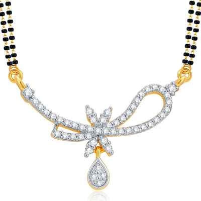 Pissara Marquise Gold and Rhodium Plated CZ Mangalsutra Set For Women-1