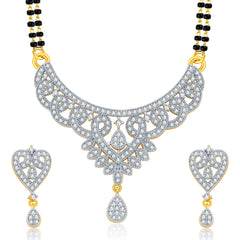 Pissara Glittering Gold And Rhodium Plated CZ Mangalasutra Set For Women
