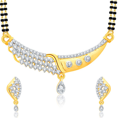 Pissara Glitzy Gold And Rhodium Plated CZ Mangalasutra Set For Women