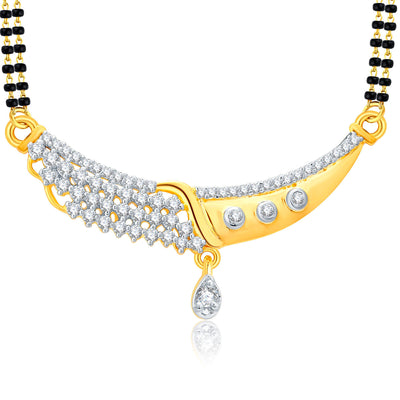 Pissara Glitzy Gold And Rhodium Plated CZ Mangalasutra Set For Women-1