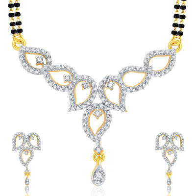 Pissara Astonish Gold Plated CZ Set of 3 Mangalsutra Set Combo For Women-2