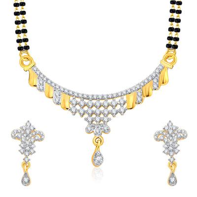 Pissara Vivacious Gold And Rhodium Plated CZ Mangalasutra Set For Women