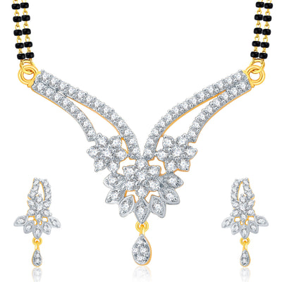 Pissara Cheerful Gold And Rhodium Plated CZ Mangalasutra Set For Women