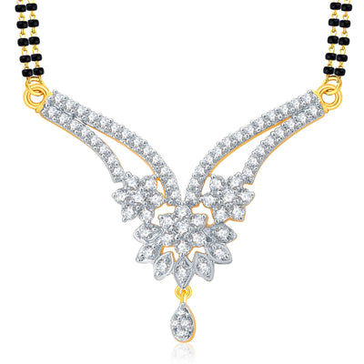 Pissara Cheerful Gold And Rhodium Plated CZ Mangalasutra Set For Women-1
