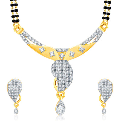 Pissara Joyous Gold And Rhodium Plated CZ Mangalasutra Set For Women