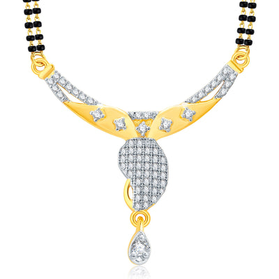 Pissara Joyous Gold And Rhodium Plated CZ Mangalasutra Set For Women-1