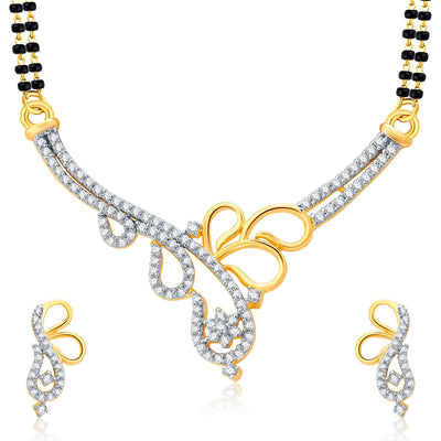 Pissara Twilight Gold And Rhodium Plated CZ Mangalasutra Set For Women
