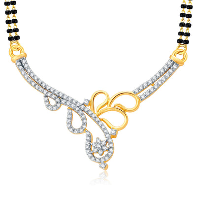 Pissara Twilight Gold And Rhodium Plated CZ Mangalasutra Set For Women-1