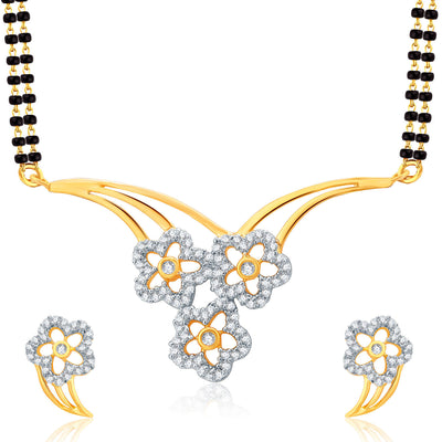 Pissara Lively Gold And Rhodium Plated CZ Mangalasutra Set For Women