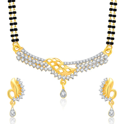 Pissara Magnificient Gold And Rhodium Plated CZ Mangalasutra Set For Women