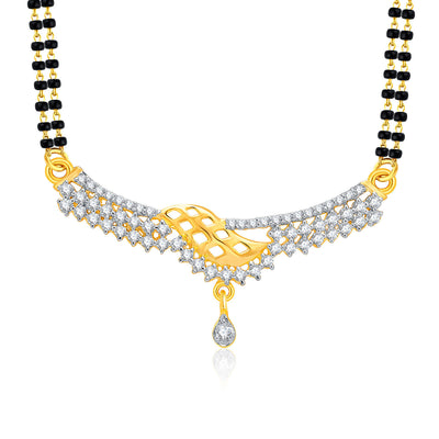 Pissara Magnificient Gold And Rhodium Plated CZ Mangalasutra Set For Women-1