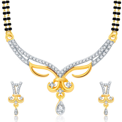 Pissara Lavish Gold Plated CZ Set of 3 Mangalsutra Set Combo For Women-1