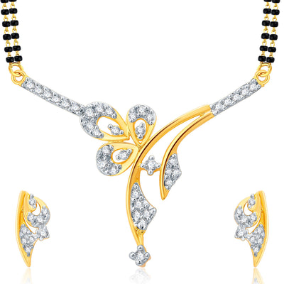 Pissara Lavish Gold Plated CZ Set of 3 Mangalsutra Set Combo For Women-2