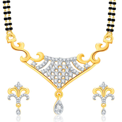 Pissara Cute Gold And Rhodium Plated CZ Mangalasutra Set For Women