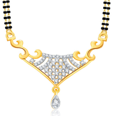 Pissara Cute Gold And Rhodium Plated CZ Mangalasutra Set For Women-1