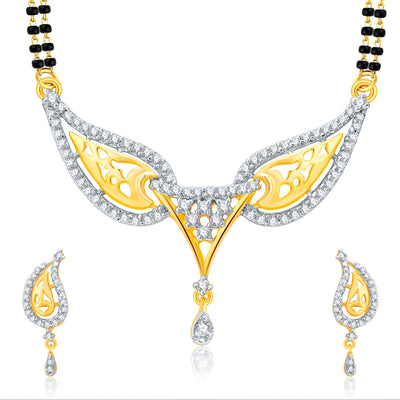 Pissara Lavish Gold Plated CZ Set of 3 Mangalsutra Set Combo For Women-3