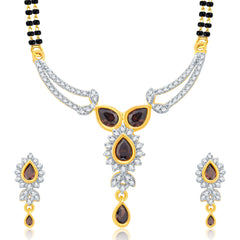 Pissara Decorative Gold And Rhodium Plated CZ Mangalasutra Set For Women