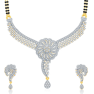 Pissara Beautiful Gold And Rhodium Plated CZ Mangalasutra Set For Women