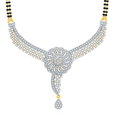 Pissara Beautiful Gold And Rhodium Plated CZ Mangalasutra Set For Women-1