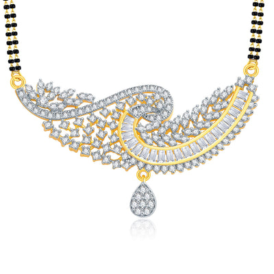 Pissara Gorgeous Gold And Rhodium Plated CZ Mangalasutra Set For Women-1