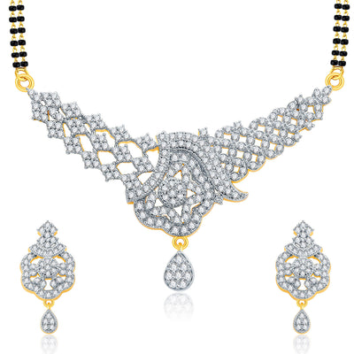 Pissara Luscious Gold And Rhodium Plated CZ Mangalasutra Set For Women