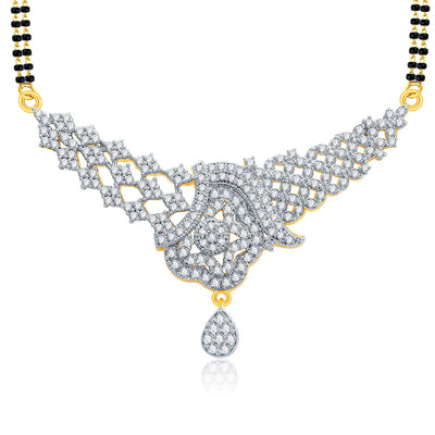 Pissara Luscious Gold And Rhodium Plated CZ Mangalasutra Set For Women-1