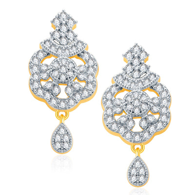 Pissara Luscious Gold And Rhodium Plated CZ Mangalasutra Set For Women-2