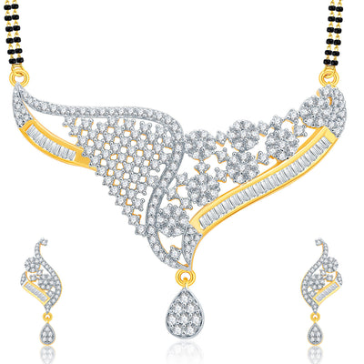 Pissara Engrossing Gold And Rhodium Plated CZ Mangalasutra Set For Women