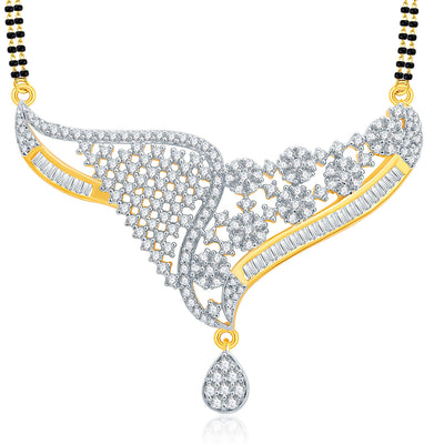 Pissara Engrossing Gold And Rhodium Plated CZ Mangalasutra Set For Women-1