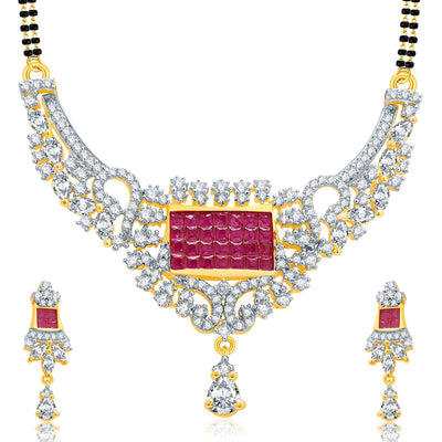 Pissara Exceptional Gold And Rhodium Plated Ruby CZ Mangalasutra Set For Women