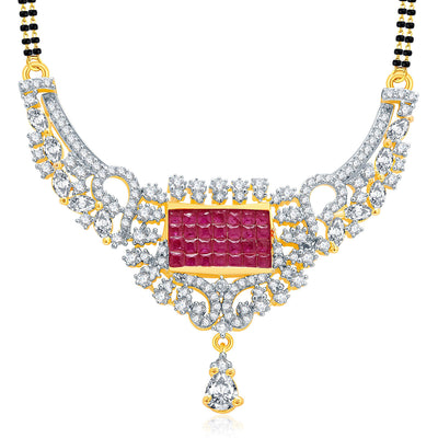 Pissara Exceptional Gold And Rhodium Plated Ruby CZ Mangalasutra Set For Women-1