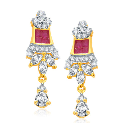 Pissara Exceptional Gold And Rhodium Plated Ruby CZ Mangalasutra Set For Women-2