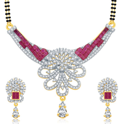 Pissara Notalgic Gold And Rhodium Plated Ruby CZ Mangalasutra Set For Women