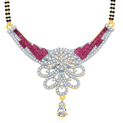 Pissara Notalgic Gold And Rhodium Plated Ruby CZ Mangalasutra Set For Women-1