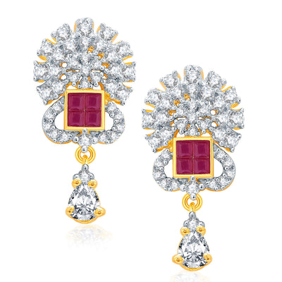 Pissara Notalgic Gold And Rhodium Plated Ruby CZ Mangalasutra Set For Women-2
