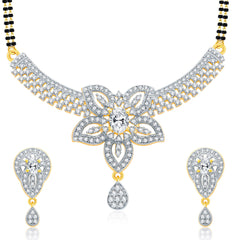 Pissara Alluring Gold And Rhodium Plated CZ Mangalasutra Set For Women