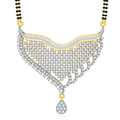 Pissara Fascinating Gold And Rhodium Plated CZ Mangalasutra Set For Women-1