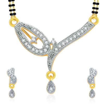 Pissara Breathtaking Gold And Rhodium Plated CZ Mangalasutra Set For Women