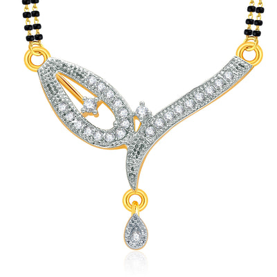 Pissara Breathtaking Gold And Rhodium Plated CZ Mangalasutra Set For Women-1