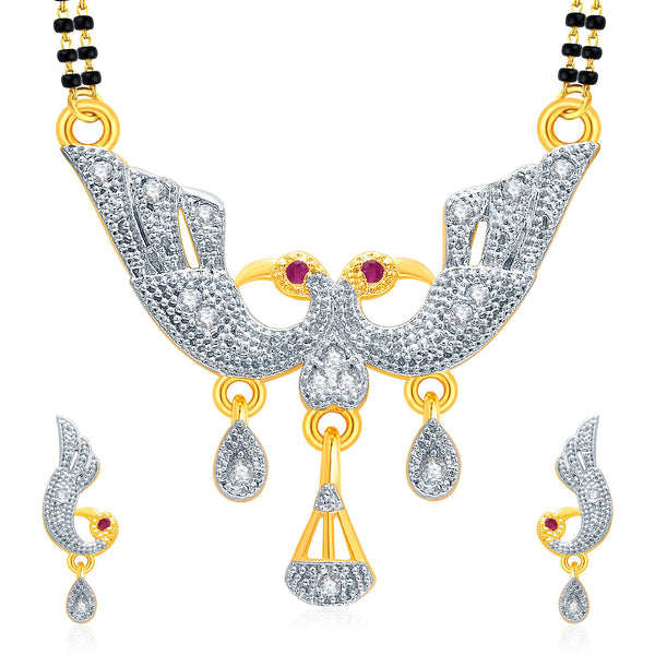 Pissara Flattering Peacock Gold And Rhodium Plated Ruby CZ Mangalasutra Set For Women