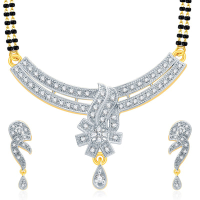 Pissara Dainty Gold And Rhodium Plated CZ Mangalasutra Set For Women