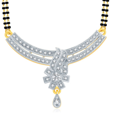 Pissara Dainty Gold And Rhodium Plated CZ Mangalasutra Set For Women-1