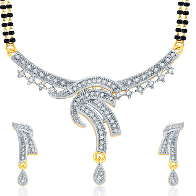 Pissara Angelic Gold And Rhodium Plated CZ Mangalasutra Set For Women