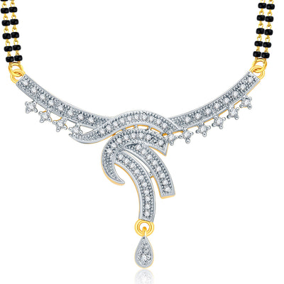 Pissara Angelic Gold And Rhodium Plated CZ Mangalasutra Set For Women-1