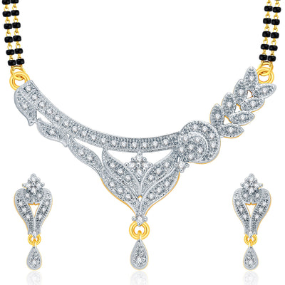 Pissara Glittery Gold And Rhodium Plated CZ Mangalasutra Set For Women