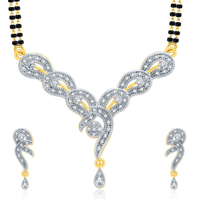 Pissara Glamorous Gold And Rhodium Plated CZ Mangalasutra Set For Women