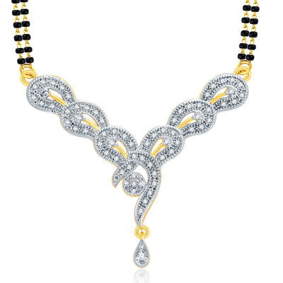 Pissara Glamorous Gold And Rhodium Plated CZ Mangalasutra Set For Women-1